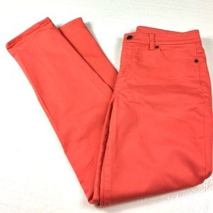 Talbots Coral Pink Slim Ankle Jeans